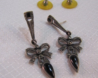 Vintage Victorian Inspired Sterling Bow Earrings with Marcasites and Onyx