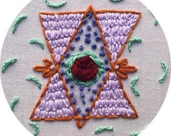 Abstract and Geometric Floral Embroidery in Embroidery Hoop