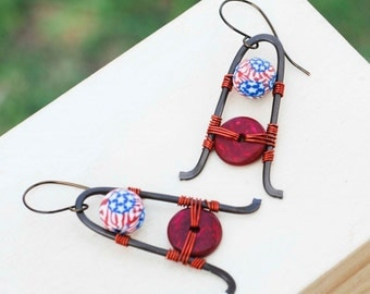 SALE -USA Flag Polymer Clay Wood Bead Wire Wrap Unique Earrings