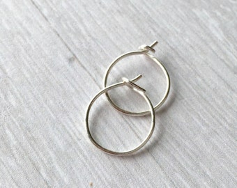 Silver Sleeper Hoop Earrings - Silver Hoop Earrings - Lightweight Hoop Earrings - Tiny Sleeper Earrings - Little Silver Hoops