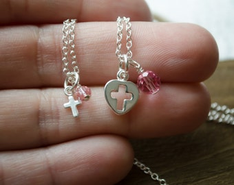 Sterling Silver Cross Necklaces - Set of 2 Mother Daughter Christian Faith Jewelry | Matching Gift Set | Mother's Day Gift