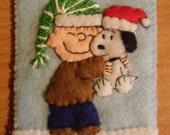 Peanuts Ornament Felt Christmas Linus Hugging Snoopy