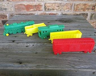 Plastic train set vintage 1950s grocery premium toy 5 pieces