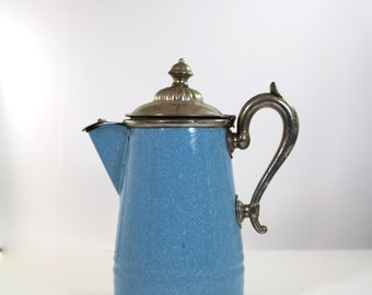 Antique Manning Bowman & Co enamelware coffee pot
