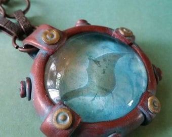 Steampunk Manta Ray Porthole Necklace