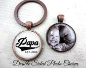 Father's Day Papa Key Chain - 2 Sided Photo Keychain - Double Sided Personalized Papa Photo Gift - Custom Papa Sports Key Chain Gift