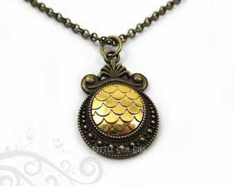 Gold Dragon Necklace - Silver or Bronze in 12 Colors - Golden Dragon Egg Necklace - Mermaid Scale Charm - 18 in Mother of Dragons Jewelry