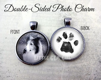 Pet Memorial Jewelry - Double Sided Charm with Pet Paw Print and Photo - Dog Paw Print Necklace Cat Paw Imprint Jewelry - Pet Remembrance