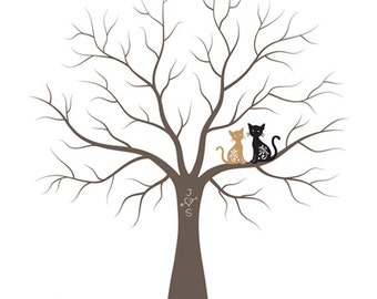 Thumbprint Wedding Tree Guest Book with Cats - Wedding Tree Guestbook Alternative Print - 17x22 inches - 150-200 Thumbprints
