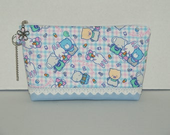 """Large Padded Zipper Pouch/Pencil Case/Cosmetic Case with Pocket Made with Japanese Cotton Oxford Fabric """"Cheery Chums - Blue Check """""""