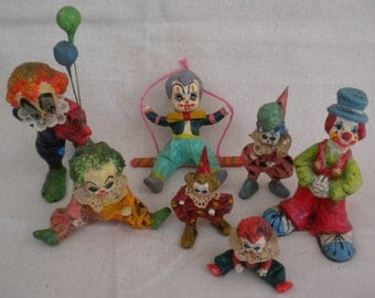 vintage paper mache clowns MEXICO vintage clowns signed CREEPY CLOWNS