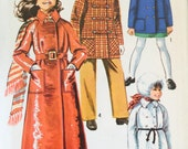 """Simplicity 9048 Girls' Coat in Three Lengths and Hood Pattern, UNCUT, Size 14, Breast 32"""", Maxi Length, Vintage 1970, Double Breasted Coat"""