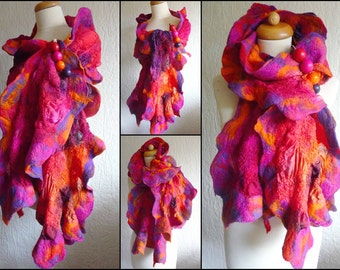 nuno felted scarf, wrap, handmade, silk, felted wool , art to wear, MADE TO ORDER, orange, pink. purple, red