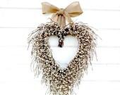 Rustic Wedding Decor-Weddings-Heart Wreath-Fall Wedding Decor-Mothers Day Gift-White Heart Wreath-Rustic Wedding Decor-Housewarming Gift