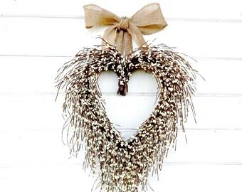 Valentines Day Wreath-Valentine Wreath-Wedding Decor-Anniversary Gift-Mothers Day Gift-White Heart Wreath-Wedding Decor-Housewarming Gift