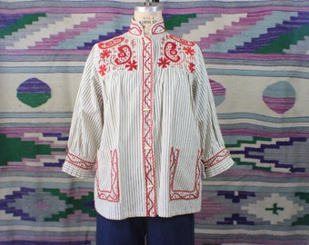 Embroidered Railroad Striped BLOUSE / 1950's Embroidered Tunic / Women's Vintage Cotton Top