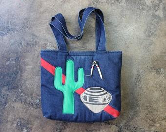 Denim Cactus Bag / Vintage Southwest Jean Purse / Quilted Denim Handbag