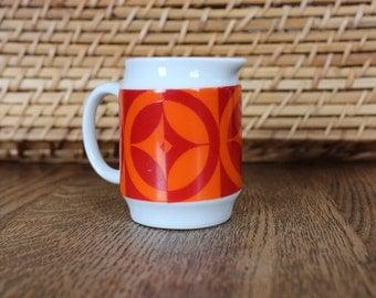 Miniature Ceramic Cream Pitcher With Red And Orange Geometric Pattern