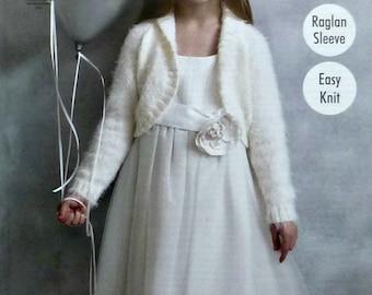 Girls Knitting Pattern K4591 Girls Easy Knit Long Sleeve Roll Collar Bolero Knitting Pattern DK (Light Worsted) King Cole