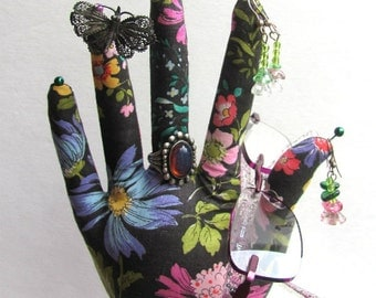 POPULAR Style Wildflower Fabric Hand Glasses Earring Organizer HAND-Stand