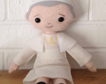 Catholic Felt Saint Doll - St. John Paul II - Wool Felt Blend