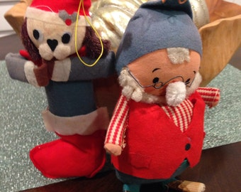 Fat santa elf and dog in stocking 1960s Ornament for Christmas Japan