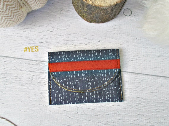 Denim Memory Card Wallet. Blue & Orange Gift Card Holder. Indigo and Rust Fabric Mini Wallet. Coin Purse. Gifts Under 10.
