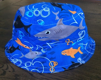 Reversible Shark and Whale Toddler Baby Sun Hat (4 child/baby sizes available)