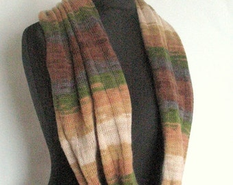 Green Striped Infinity Scarf Cowl Wrap Brown Beige Gray