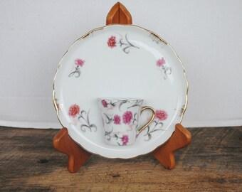 Vintage Tea Cup and Saucer Wall Pocket Plate Japan Pink Grey Floral