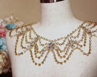 Shoulder Necklace Bridal Crystal  Necklace Wedding Shoulder Necklace Old Hollywood Rhinestone Crystal Necklace Fits Perfect On Your Neck