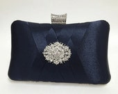 wedding clutch, formal clutch, Navy blue clutch, evening bag, bridesmaid clutch, bridesmaid bag, crystal clutch, evening clutch