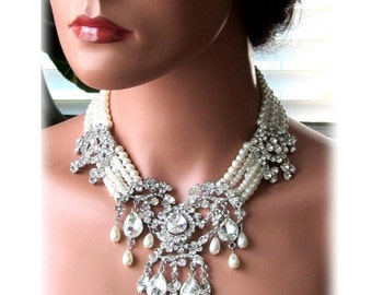 Wedding jewelry, OOAK Bridal bib necklace, vintage inspired pearl necklace, rhinestone Victorian bridal statement necklace
