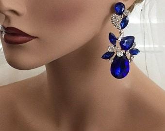 Bridal jewelry, Bridal earrings, Wedding jewelry, Teardrop earrings,  Royal blue crystal earrings, Sapphire  earrings, Victorian earrings