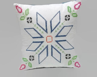 Embroidered Quilt Block Accent Throw Pillow Cover 16 Inch Square Upcycled 16 X 16