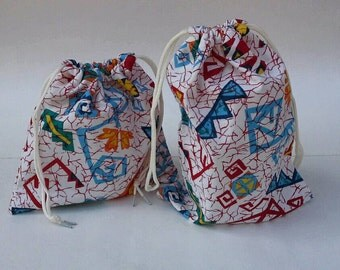 Wild and Crazy Geometric Print Drawstring Fabric Gift Bag, Set of 2, Upcycled, Reusable, Birthday Gift Wrap