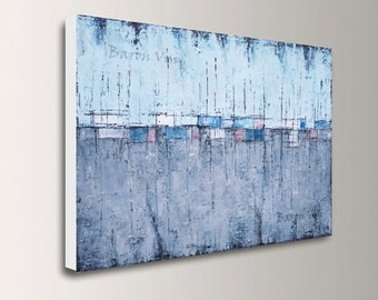 grey art, wall art, abstract acrylic Painting large canvas Original wall art home office interior decor texture Oil modern blue grey Visi