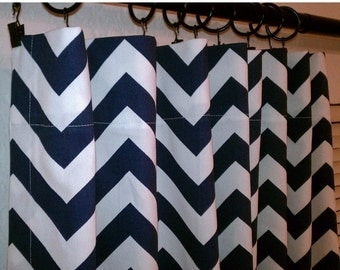 "SALE Navy Blue Chevron Curtains Zig Zag Curtain Drapery Panels 25"" wide x  63"" 72"" 84"" 96"" 108"" 120"""