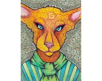 ACEO Original Fancy Cat, Linus in Colored Pencil