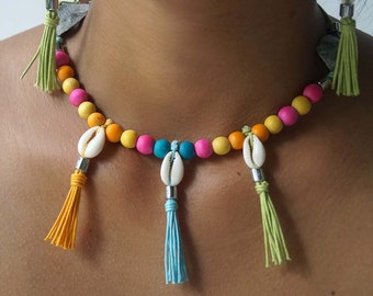 Playful Summer Necklace, Bright Multicolor Necklace, Surfer Girl Necklace, 1 Piece