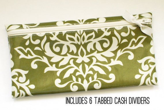 Cash organizer for Dave Ramsey budget | 6 wallet dividers | olive green damask laminated cotton