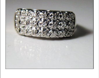 Vintage 14k  Diamond 3 rows Wide Band Ring