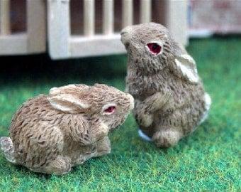 Dolls House Miniature Set of 4 Bunny Rabbits