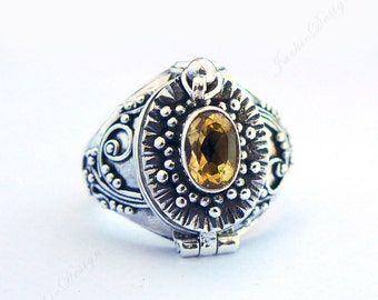 Yellow Citrine Poison Ring Locket Secret Holder Sterling Silver Jewelry JD87