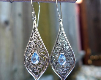 Blue Topaz Tear Drop Filigree Bali Sterling Silver Earrings JD73