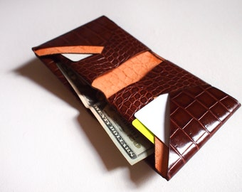 "Stitchless/Seamless "" minimalist"" origami wallet in Brown Embossed leather -Ready to Ship"