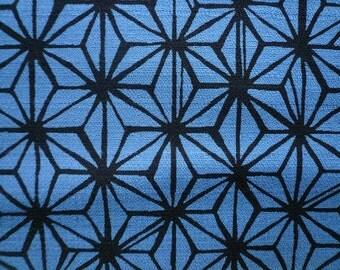 Tissu Japonais motif asanoha peint bleu gris- 50 cm