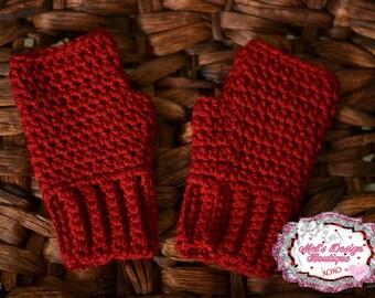 Girls gloves girls fingerless gloves, kids crochet gloves, fingerless gloves, crochet gloves, red gloves, ready to ship, red , fingerless