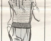 Crochet Pullover Sweater Vest, Buttoned Waist, Vintage 1970s Woman Mail Order Pattern 7256 Size 10-16, Bust 32-38
