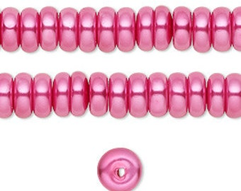 Rondelle 8mm by 3mm 1 New Strand Glass Heishi Pearls Fuschia Pink